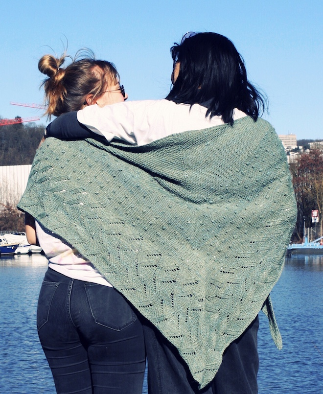 To girls wrapped in Immersion Shawl.